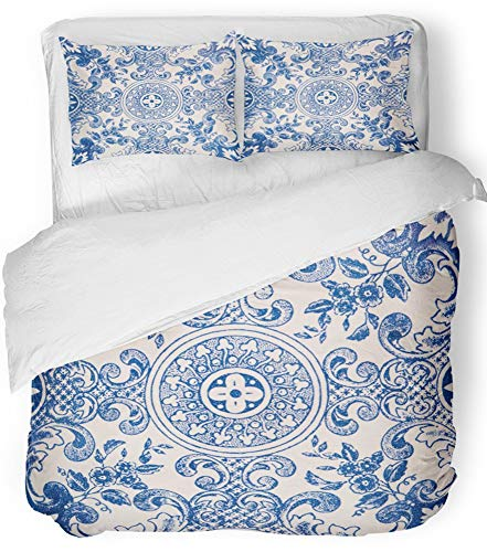 Emvency Bedsure Duvet Cover Set Closure Printed Decorative Abstract Closeup Detail of Old Portuguese Glazed Tiles Arabesque Spain Ancient Breathable Bedding Set With 2 Pillow Shams Full/Queen Size by Emvency
