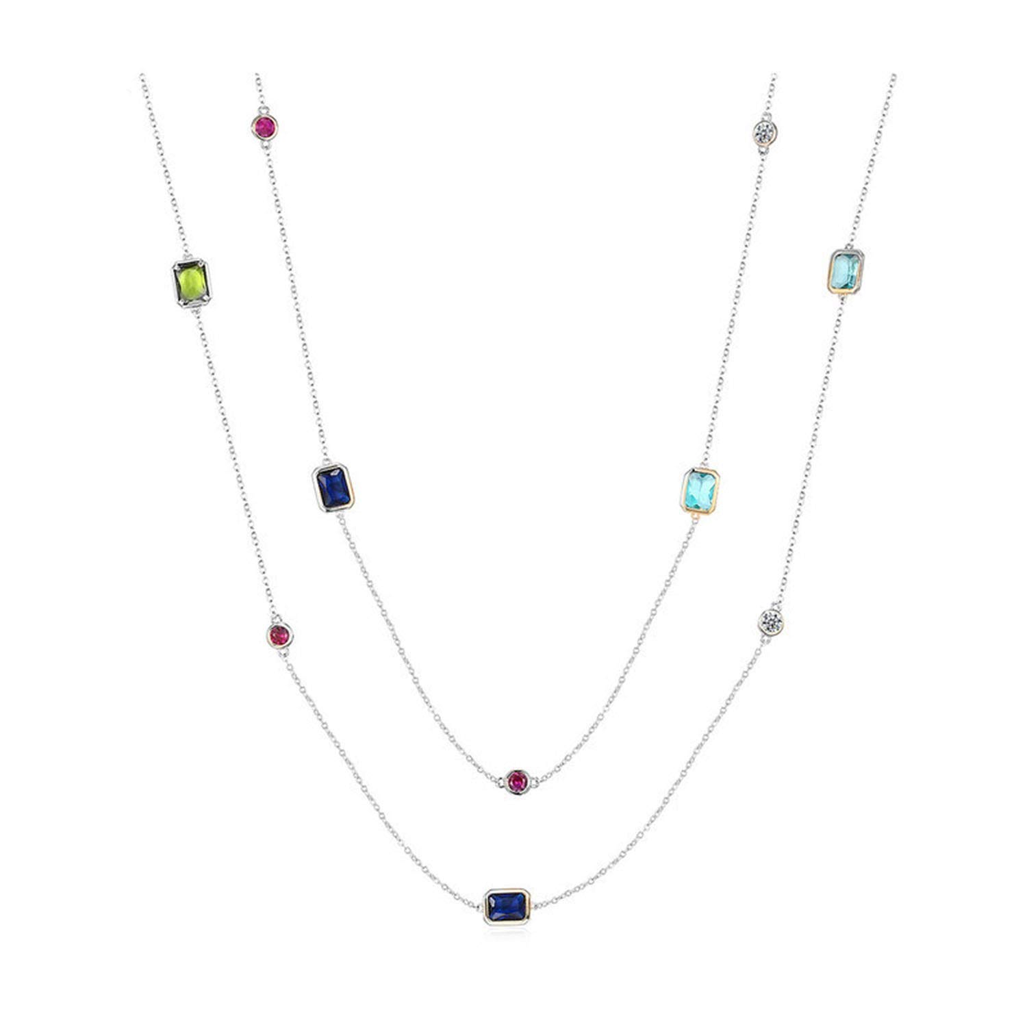 Waroom-Store Multicolour Crystal Stones Necklace,Women Colourful Long Sweater Chain Dress Party Accessories