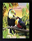 3D Lenticular Picture Poster Artwork Unique Wall Decor Holographic Pictures Optical Illusion Flipping Images (With Frame, Parrots)