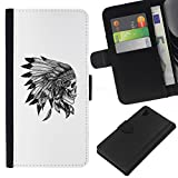 RenCase / Flip Wallet Diary PU Leather Case Cover With Card Slot for Sony Xperia Z1 L39 - Headgear Native American