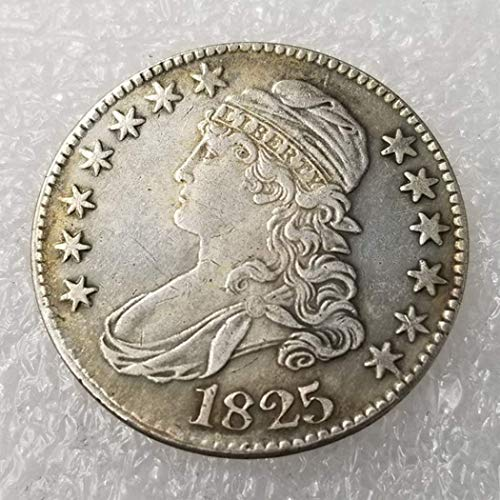 (GreatSSCoin 1825 Antique Liberty 50-Cents Coin - Great American Commemorative Coin - US Old Coins- USA Original Pre Morgan Uncirculated Condition Great Uncirculated Coin)