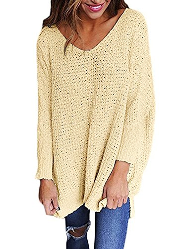 Dearlove Women's Long Sleeve V-Neck Slit Casual Loose Top Oversized Knitted Sweater Jumper Pullovers Khaki M 8 10
