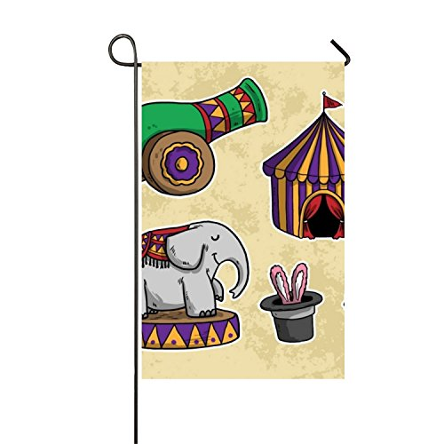 Hand Drawn Circus Elements Pack Seasonal Garden Flag, Double