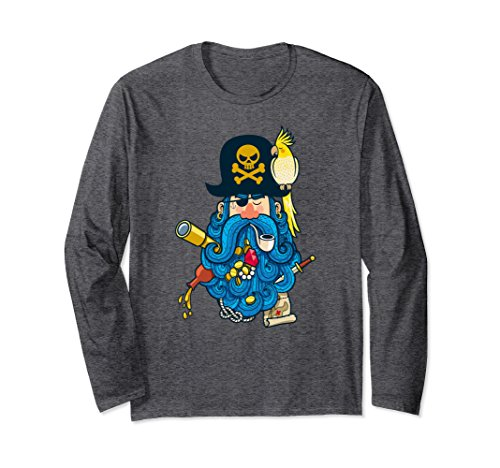 Unisex Pirate Captain Blue Beard Party Long Sleeve Shirt Large Dark (Pirate Captain Beard)