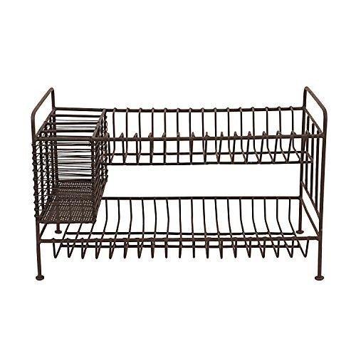 Creative Co-Op DA8086 2-Tier Metal Dish Rack with Utensil Compartment (Dish Drying Bronze Rack)