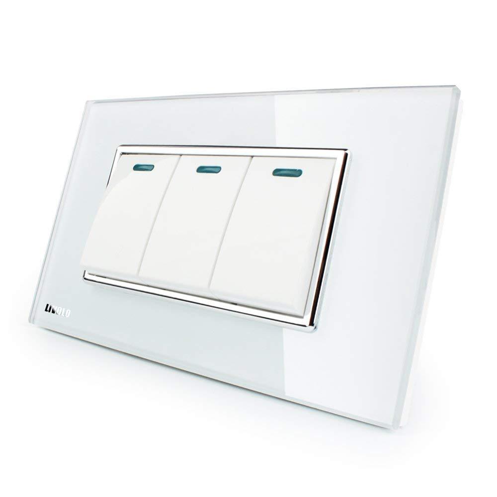 LIVOLO Push Button Switch White US/AU Standard 3 Gang 2 Way Light Switch Luxury Tempered Glass Panel,AC110-220V,C3K3S-81