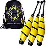 BEACH Pro Juggling Clubs Set of 3 (YELLOW) + Flames N Games Travel Bag! Great Juggling Clubs For Beginners & Advanced Jugglers!