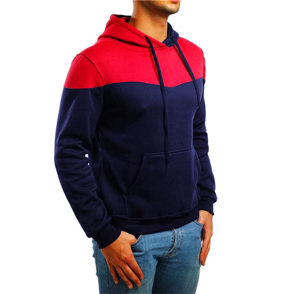 Mens Hoodie Pullover Colour Block Jumper Casual Patchwork Tops