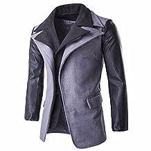 Men's Wool Classic Pea Coat Winter Coat PU Leather Sleeves Patchwork