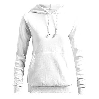 Sudadera de Mujer Color sólido Casual Sport Gym Correr Blusa de Manga Larga Bolsillo con Capucha Pullover Tops Camisa☆Rovinci☆¡Gran promoción!: