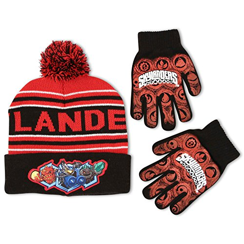 Activision Big Boys Skylanders Jacquard Super Stretch Acrylic Knit Winter Cuffed Beanie Pom Hat with Matching Glove Set, Red, One Size