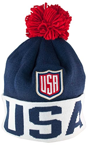 Team Knit Beanie (Team USA 2016 World Cup of Hockey Knit Hat with Pom Navy)
