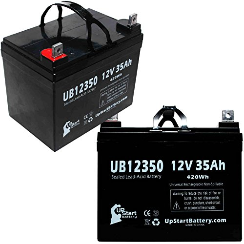 - 2X Pack - MK Battery MU1SLDG Battery - Replacement UB12350 Universal Sealed Lead Acid Battery (12V, 35Ah, 35000mAh, L1 Terminal, AGM, SLA)