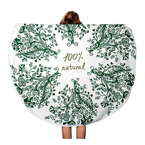 Tinmun 60 Inches Round Beach Towel Blanket Green Abstract Eco Label Floral for Beautiful Beauty Border Travel Picnic Carpet Yoga Mat