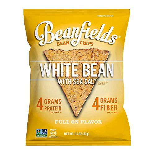 White Tortilla Chips - Beanfields Bean Chips, High Protein and Fiber, Gluten Free, Vegan Snack, White Bean, 1.5 Ounce (Pack of 24)