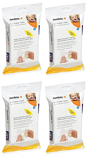 Medela Quick tCmru Clean Breast Pump and Accessory Wipes, 24 Count (4 Pack)