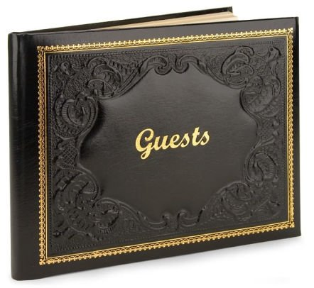 Guest Book Black Leather with Gold Accents Fiorentina Ltd 10.5
