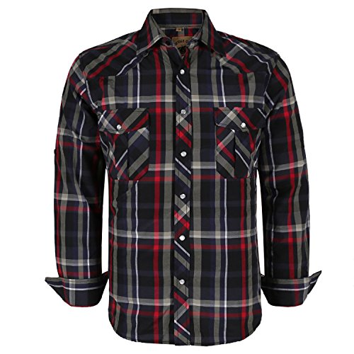 (Coevals Club Men's Button Down Plaid Long Sleeve Work Casual Shirt (Red Black #6 2XL))