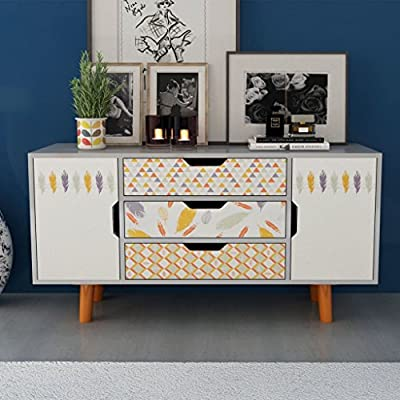 """Festnight Modern Buffet Sideboard Console Table Scandinavian Design with 3 Drawers and 2 Storage MDF 43.3"""" x 13.8"""" x 22.4"""" - This sideboard featuring a Scandinavian design with unique forest patterns will make a practical as well as highly decorative addition to your home. With 3 drawers and 2 storage compartments with doors, the sideboard provides ample storage space for books, multimedia appliances and other items. The tabletop is ideal for displaying decorative objects, photo frames, or potted plants. - sideboards-buffets, kitchen-dining-room-furniture, kitchen-dining-room - 51iMrv7%2BtML. SS400  -"""