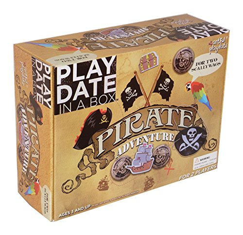 Pirate Adventure Playdate in a Box - Themed Costume Dress-Up Role Play Playdate Craft Kit for 2 Kids Ages 3 to 8 (Pirate Adventure Fun Kit)