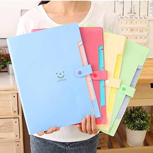 Wodwad New10 Color A4 Kawaii Carpetas Smile Waterproof Carpeta File Folder 5 Layers Arc (Blue) -