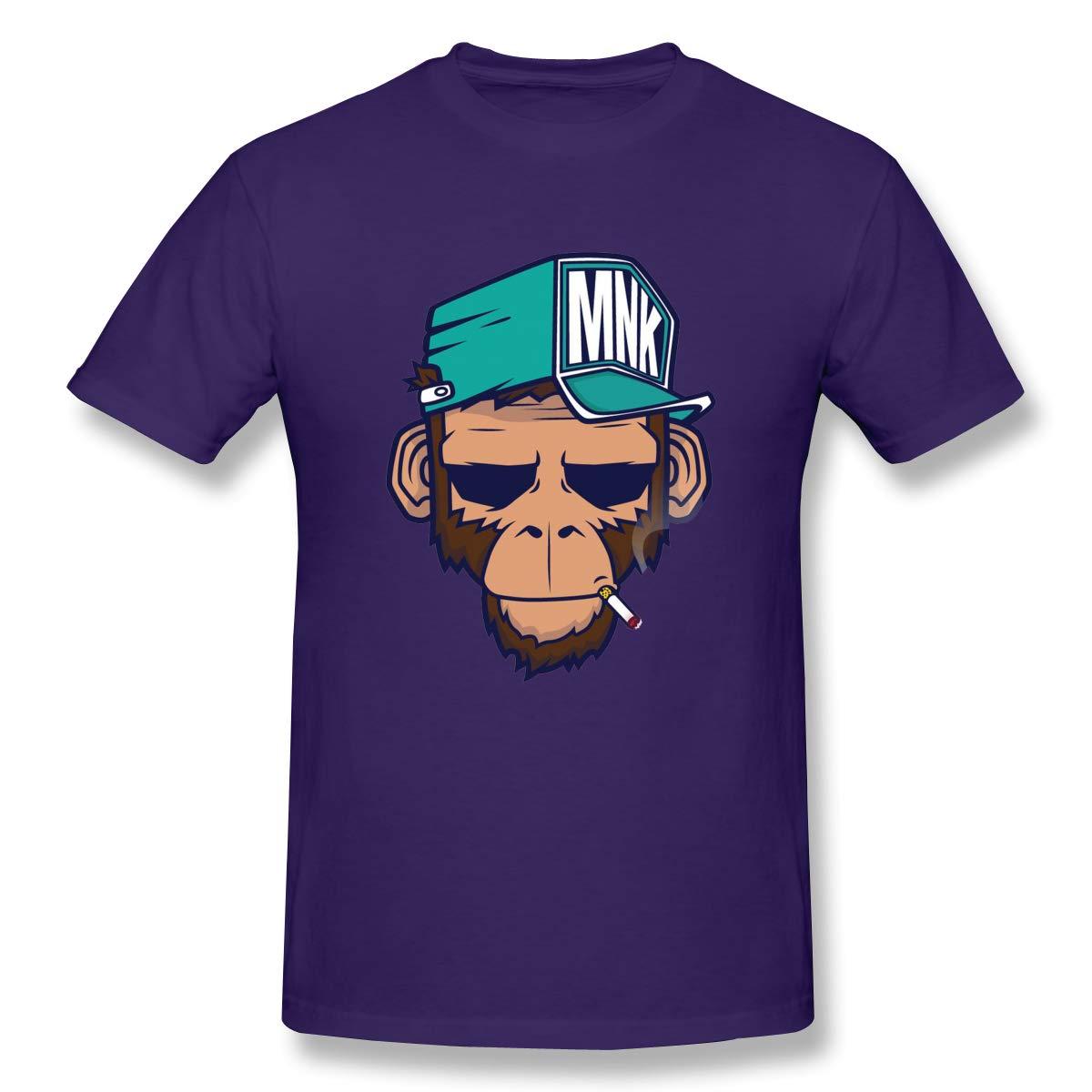 Hewtrf Gorilla Monkey Smoking A Bad Monkey Leisure And Fun Pure Purple 6 Short Sleeve Tshi