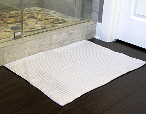 - Gilden Tree Premium Reversible White 100% Cotton Bath Mat Washable Quick Drying Super Absorbent Spa Floor Towel (White)