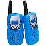 Lictin Kids Walkie Talkies-2pcs Walkie Talkies for Kids Built-in Flashlight 3KM Long Range to Play with Family and Friends Powered by AAA Battery (Not Included) Blue