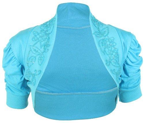 PurpleHanger Women's Short Sleeve Bead Shrug Cardigan Top Plus Turquoise 12-14 by Purple Hanger