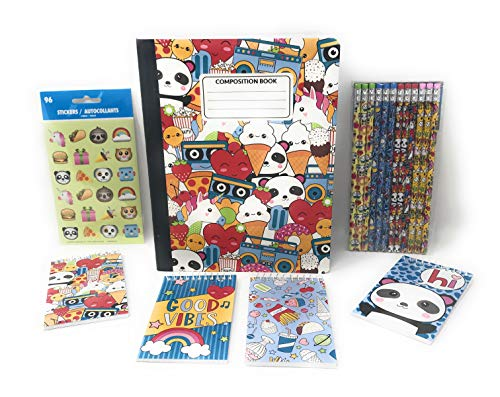 Panda Stationary's Bundle of 4, Includes 1 Composition Notebook, 1 Pack of Mini Notebooks, 1 Pack of Pencils, and 1 Pack of Stickers all Panda Bear - Panda Pencil
