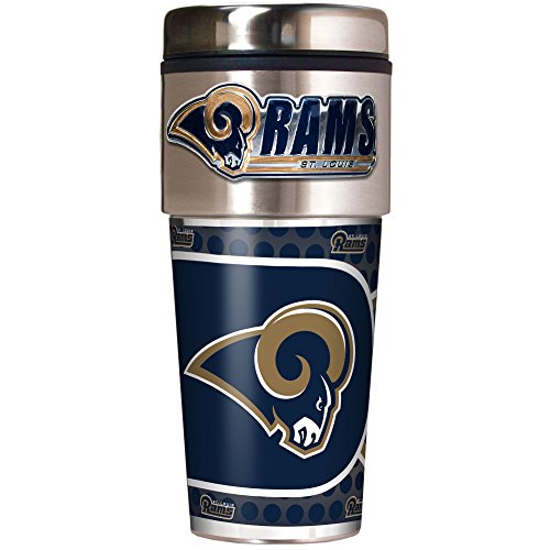 NFL Los Angeles Rams Metallic Travel Tumbler, Stainless Steel and Black Vinyl, 16-Ounce