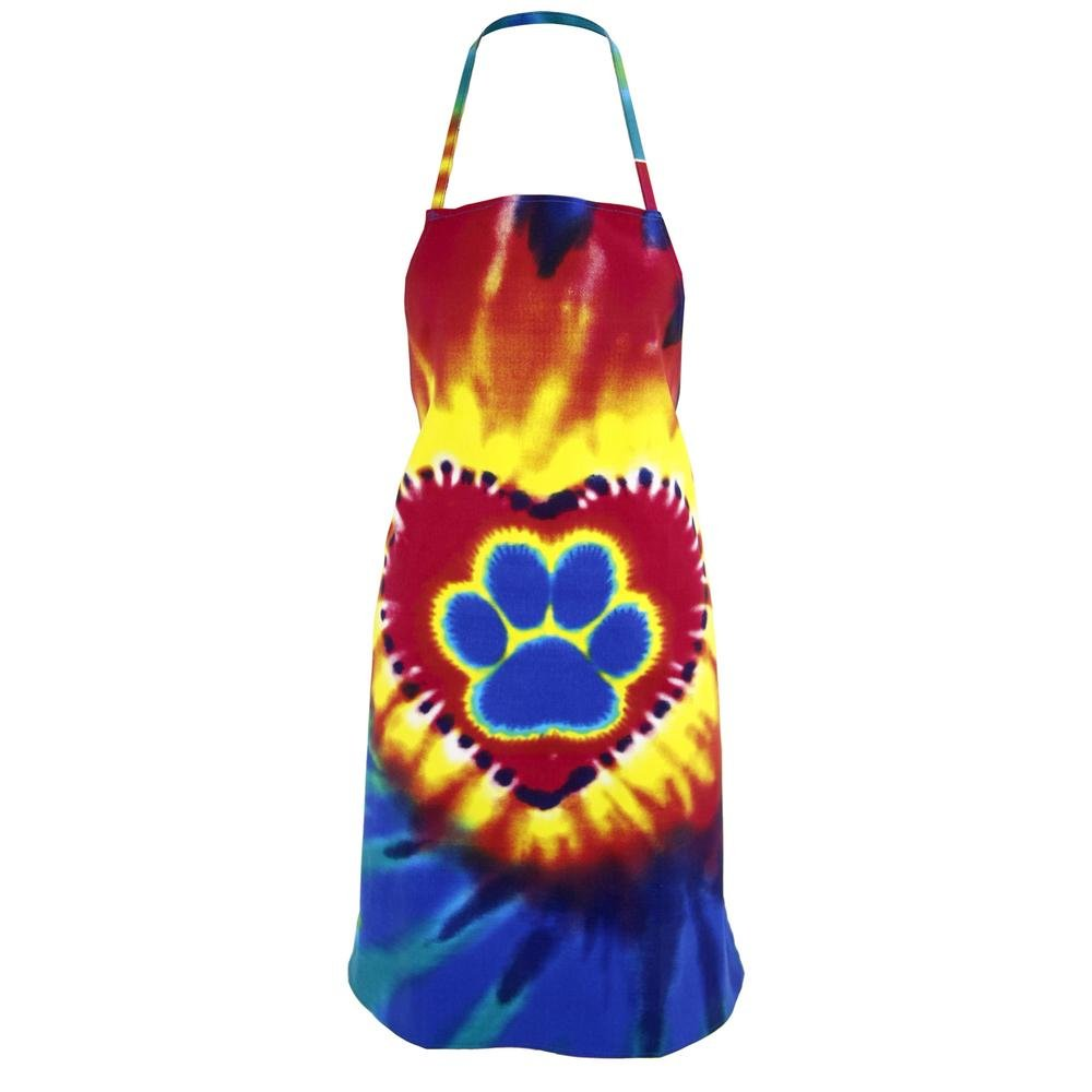 Animal Rescue Colorful Paw Print Pet Lovers Kitchen Apron (Tie-Dye Paw Print in a Heart)