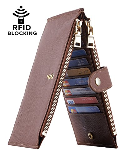 Travelambo Womens Walllet RFID Blocking Bifold Multi Card Case Wallet with Zipper Pocket (CH Brown Deep 8119)