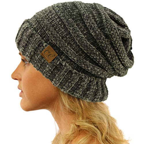 Chenille Beanie Hat - CC Winter Trendy Warm Oversized Chunky Baggy Stretchy Slouchy Skully Beanie Hat Chenille Dk. Melange Gray
