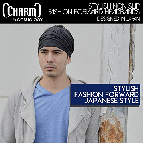 Charcoal Gray Japanese Bandana Headbands for Men and Women – Comfortable Head Bands with Elastic Secure Snug Fit Ideal Runners Fitness Sports Football Tennis Stylish Lightweight M by CCHARM (Image #8)