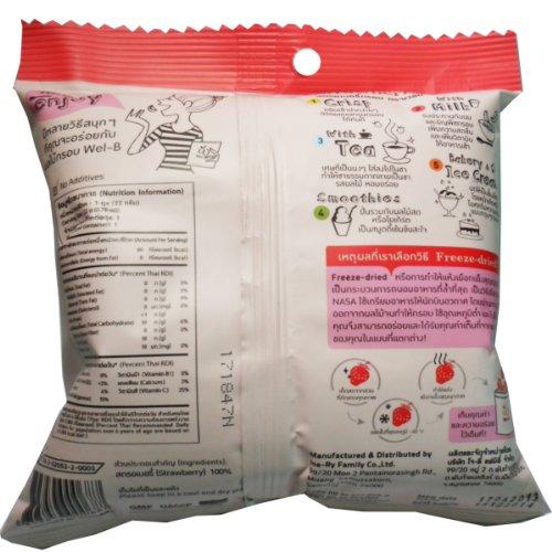 Freeze Dried Strawberry Healthy Fruit Snack Wel-B Brand Net Wt 22g (0.78oz) x 3 bags by Wel-B (Image #1)