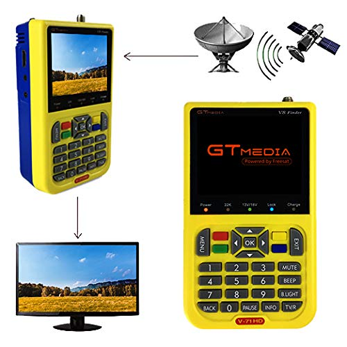 GTMEDIA V8 Satellite Finder DVB S2 TV Satellite Signal Meter Detector for Adjusting Sat Dish, HD 1080P Free to Air FTA 3.5