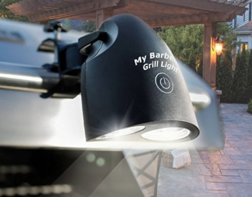 Adjustable LED BBQ Grill Light by My Barbeque Grill Lights with 10 Super Bright LEDS for Cooking Outdoor or Indoor Great Waterproof Heatproof Battery Operated in Black by My Barbeque Grill Light