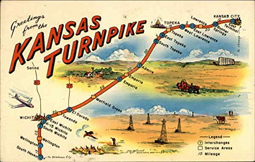 Map of Kansas Turnpike Maps Original Vintage Postcard