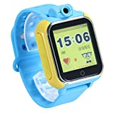 KOBWA Updated GPS Tracker Kids Smartwatch Wrist Sim Watch Phone Anti-lost SOS WCDMA Children Bracelet Parent Control for Apple Iphone IOS Android Smartphone MT6572A Dual Core