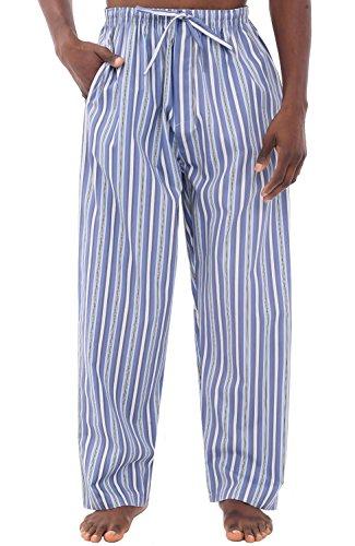 Alexander Del Rossa Mens Cotton Pajama Pants, Long Woven Pj Bottoms, Large Light and Dark Blue Striped (A0696R62LG)