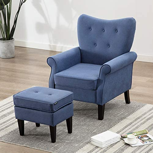 Artechworks Tufted Accent Chair with Ottoman Tech Cloth Leathaire , Single Sofa Club Chair for Living Room, Bedroom, Office, Hosting Room, Blue