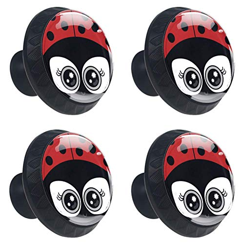 Idealiy Cute Animal Ladybug Drawer Knob Pull Handle Cupboard Knobs with Screws 4pcs