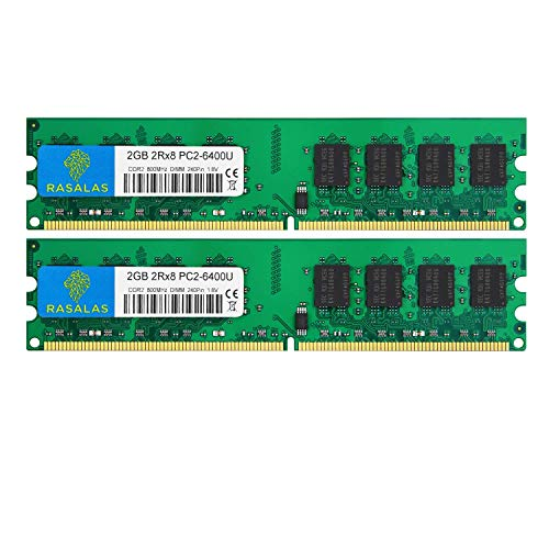 Rasalas DDR2 PC2-6400 4GB Kit (2x2gb) DDR2-800 Udimm Ram Desktop DDR2 800mhz pc2 6400 pc2-6400u 1.8V CL6 240 Pin Non-ECC Unbuffered Desktop Memory Modules