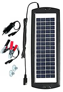 Sunway Solar Car Battery Charger 12V Battery Trickle Charger Maintainer Solar Panel Power Charger Portable Backup For RV Motorcycle Boat Marine Trailer Tractor Powersports ATVs Snowmobile