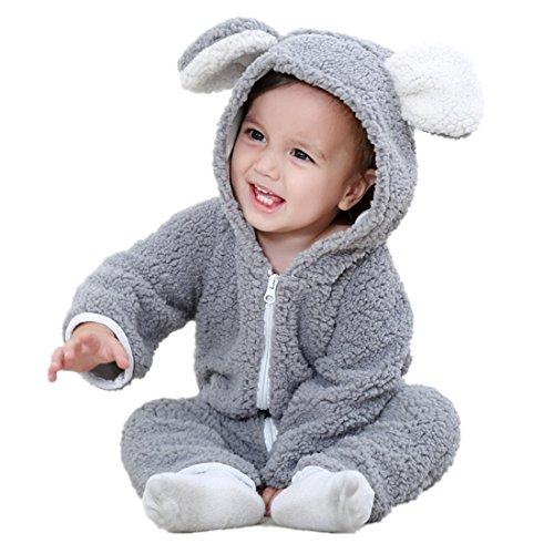 Baby Unisex Fleece Romper Animal Halloween Costumes Pajamas for Kids Grey 100 ()