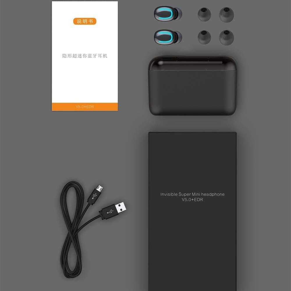 HMXA Bluetooth 5.0 koptelefoon TWS Wireless Headphones Blutooth oortelefoon Handsfree hoofdtelefoon Sports oordopjes Gaming Headset Phone (Color : Single ear Black) Black with LED