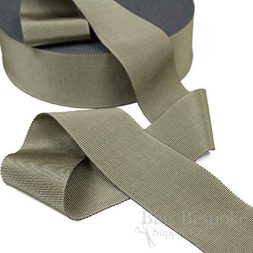 (3 Yards of Vera 2'' Cotton & Viscose Petersham Grosgrain Ribbon, Gray Taupe, Made in Italy)