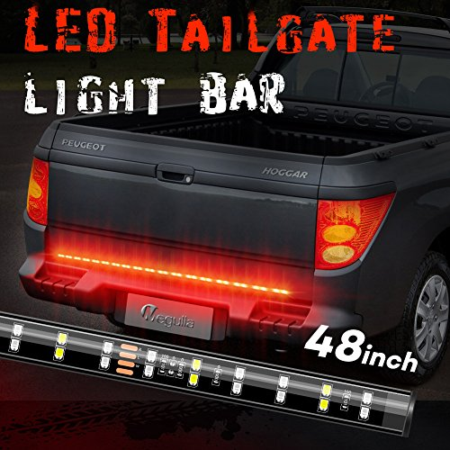 Megulla Double-Row LED Truck Tailgate Light Bar Strip Reverse Stop Turn Signal Running for Pickups, SUV, RV, Trailer and more (48inches)