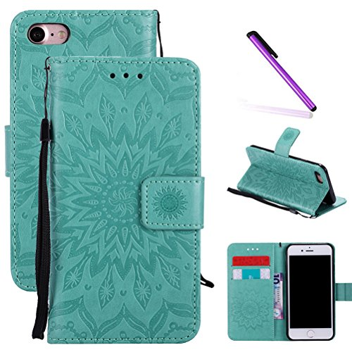 iPhone 8 Plus Case,iPhone 7 Plus Case,LEECOCO Embossed Floral Wallet Case with Card Slots [Kickstand] PU Leather Flip Stand Case Cover for iPhone 8 Plus / iPhone 7 Plus 5.5